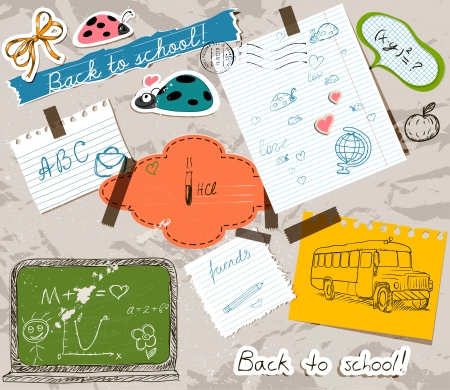 postcard back: scrapbooking set with school elements. Illustration