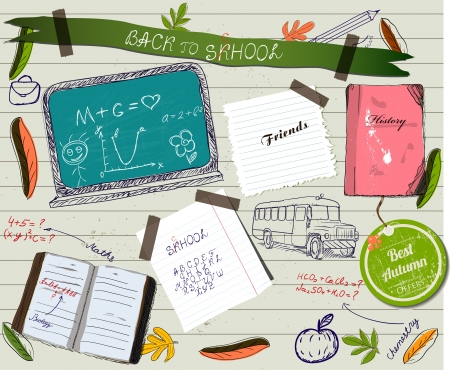 Back to school scrapbooking poster. Vector