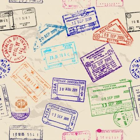 Naadloze textuur met echte visum stempels uit 9 landen. Stock Illustratie