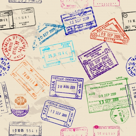 Seamless texture with real visa stamps from 9 countries.  Vector
