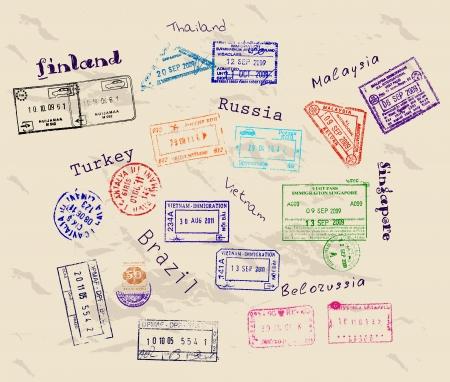timbre voyage: Véritables timbres de visa provenant de 9 pays. Illustration