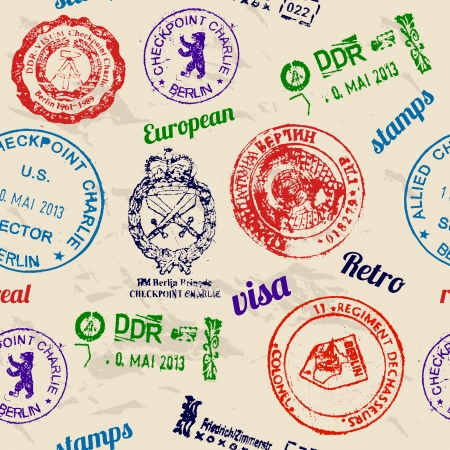 Bez szwu tekstury z prawdziwych znaczków z muru berlińskiego. Ilustracje wektorowe
