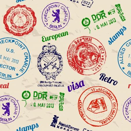 timbre voyage: Seamless texture avec de vrais timbres de mur de Berlin.