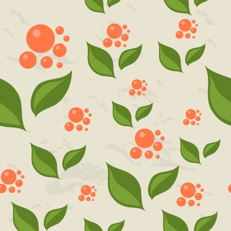 Seamless pattern with berries and leaves.  Vector