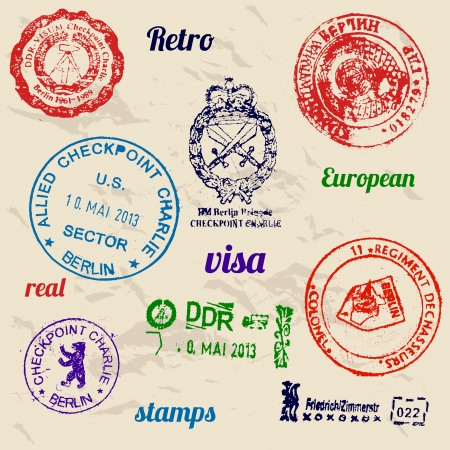 Set of real stamps from Berlin Wall.  Vector