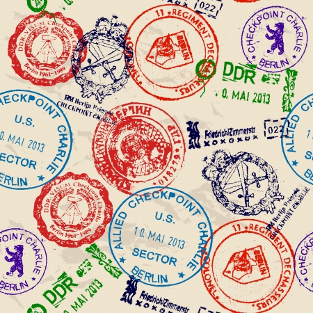 passeport: Seamless texture avec de vrais timbres de mur de Berlin.