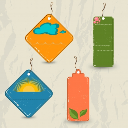 Set of 4 retro summer tags.  Vector
