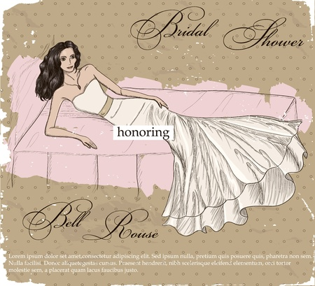 Vintage poster with beautiful wedding dress.  Vector