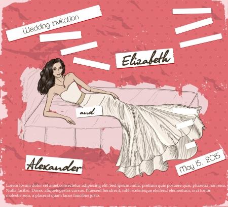 frau dusche: Weinlese-Plakat mit sch�nen Hochzeitskleid