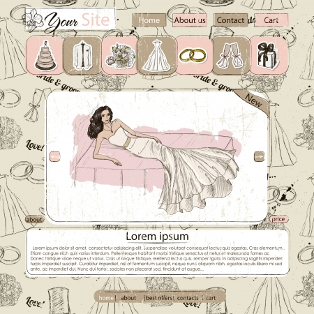 Website template with wedding elements. Seamless texture included. Vector