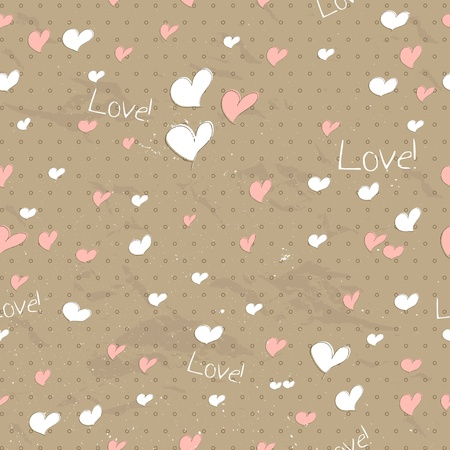 Vintage seamless texture with hearts.  Vector