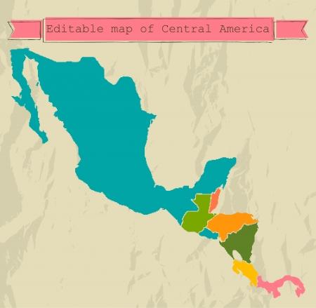 すべての国で編集可能な中央アメリカの地図  イラスト・ベクター素材
