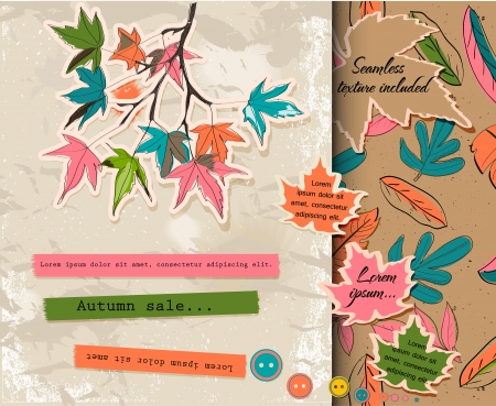 painted the cover illustration: Scrap booking set about autumn.