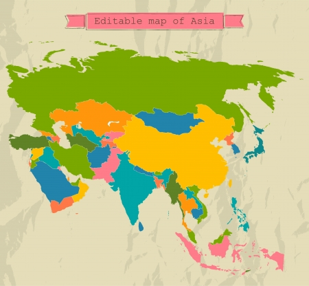 south east asia map: Editable Asia map with all countries.