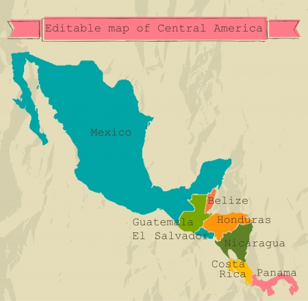mexico map: Editable Central America map with all countries. Illustration