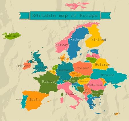 carte éditable de l'Europe avec tous les pays. Vector illustration