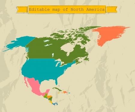 north america map: Modificabile Nord America mappa con tutti i paesi.