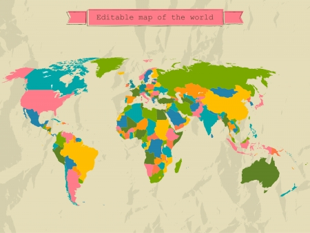 Editable world map with all Countries. Illustration