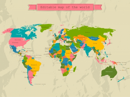 geography map: Editable world map with all Countries.