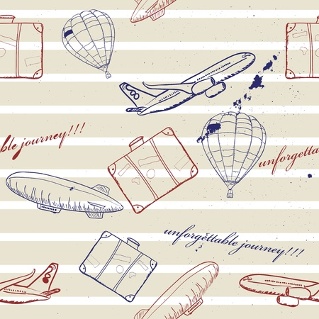 flying vehicles journey seamless pattern Vector