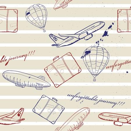 beach bag: flying vehicles journey seamless pattern