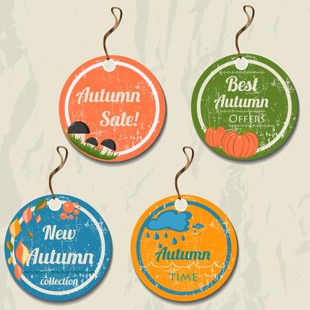 button mushroom: Set of 4 retro autumn tags