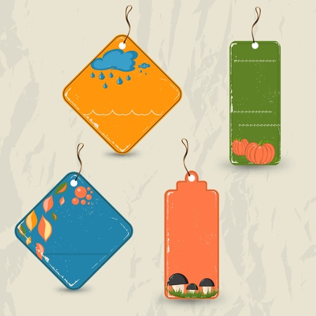 Set of 4 retro autumn tags. Vector