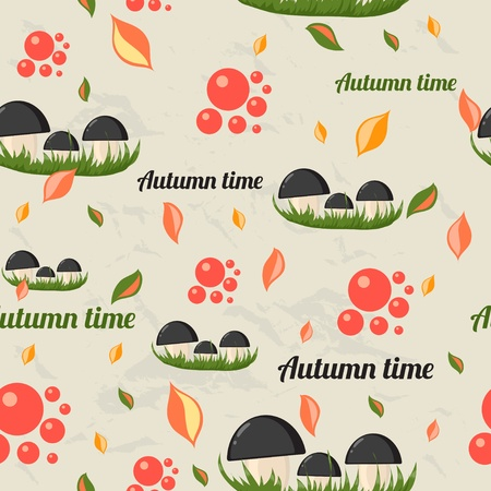 mountain cranberry: Seamless pattern with autumn elements. Vector illustration