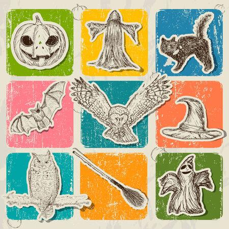 Vintage Halloween poster with pumpkin, owl, bat etc. Vector illustration EPS10 illustration