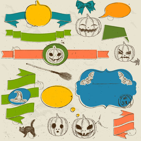 Set of vintage deign elements about Halloween photo