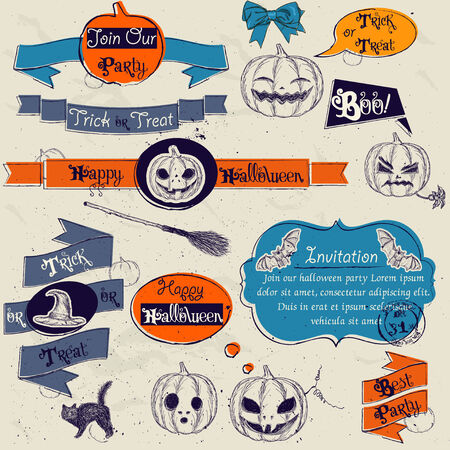 Set of vintage deign elements about Halloween photo