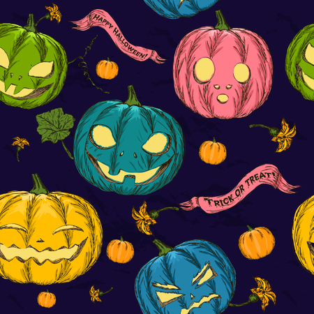 drakula: Halloween seamless background with pumpkin. Vector illustration EPS8 Stock Photo