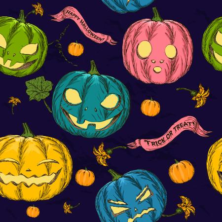 drakula: Halloween seamless background with pumpkin. Vector illustration EPS8 Stock Photo