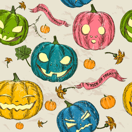 drakula: Halloween seamless background with pumpkin