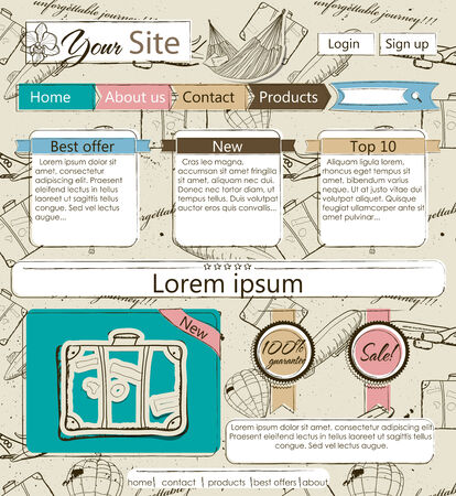 Website template with vintage elements photo