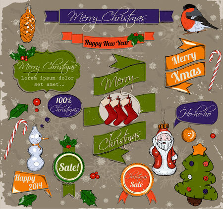 Set of Christmas design elements photo