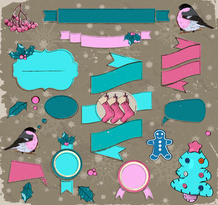 Set of Christmas design elements in pink and blue photo