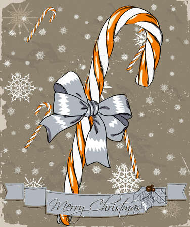 candy cane: Christmas card with candy cane. Vector illustration