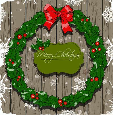 Christmas card with wreath photo