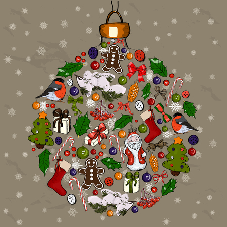 christmas ball made from decorations vector illustration stock illustration 52853483