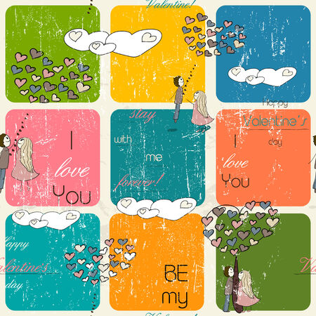 miss you: Seamless texture with love elements Stock Photo