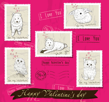 Set of postage stamps about love photo