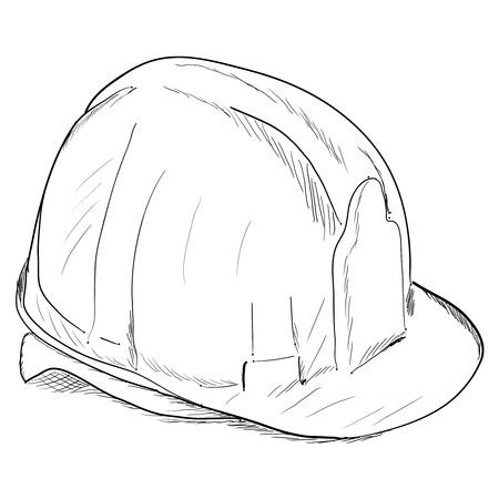 Hand-drawn constructions helmet icon. Vector illustration EPS8