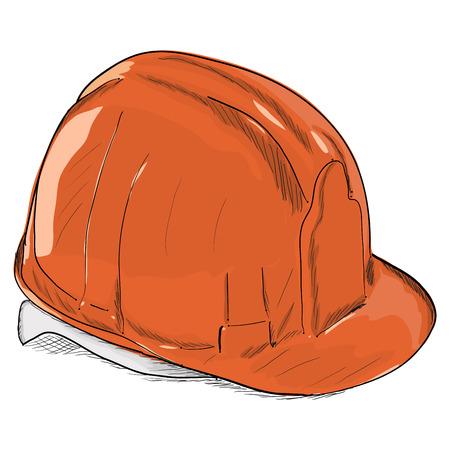 hard: Hand-drawn constructions helmet icon. Vector illustration EPS8