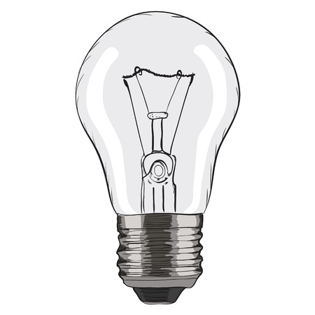 scriibble: Hand-drawn light bulb on white background. EPS8 vector illustration Illustration