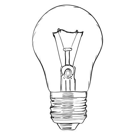 energysaving: Hand-drawn light bulb on white background. EPS8 vector illustration Illustration