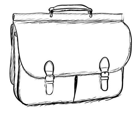 briefcase: Leather briefcase on white background. EPS8 vector illustration