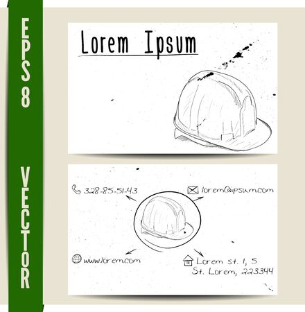 contractor: Simple business card template. EPS8 vector illustration.