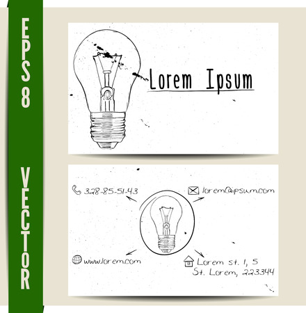 vintage drawing: Simple business card template. EPS8 vector illustration.