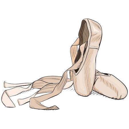 Zapatillas de punta estilo dibujados a mano. Ilustración vectorial EPS8.